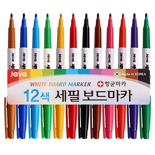 (Java Pen Extra Fine 2.4mm Nip White Board Marker Antibacterial Pen (Pack of 12 Colors))