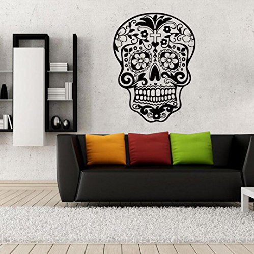 Halloween Skeleton Background Decorated Living Room Bedroom Wall Stickers (Spooky Fancy Dress)