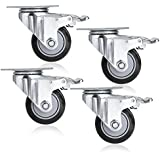 COOCHEER 3'' Heavy Duty Swivel Caster Wheels (Black)