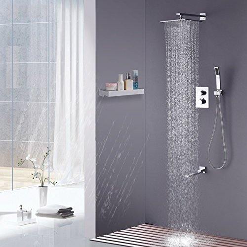 Rainfall Shower head, ieGeek Universal Luxury Large Bath Shower 304 Stainless Steel High Pressure Shower Head with Full Polish Chrome Finish and Anti-lime Nozzles Easy to Install Square - 12 Inch by ieGeek (Image #8)