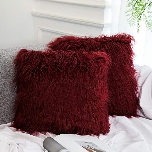 aux Fur Pillow Cover Cushion Case Natural Color (18x18 Inch, 2 Pack, Wine red) ()