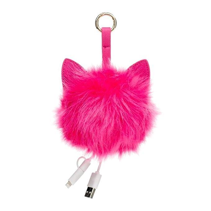 Cargador de Llavero USB C: Llavero de Gato Peludo Rosa ...