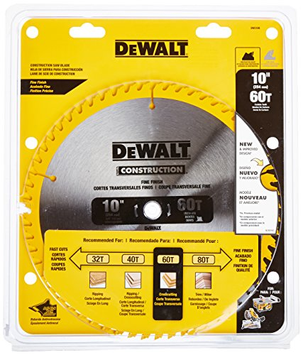 DEWALT DW3106 Series 20 10-Inch 60 Tooth ATB Thin Kerf Crosscutting Saw Blade with 5/8-Inch Arbor - Dewalt Saw Blades 10 Inch