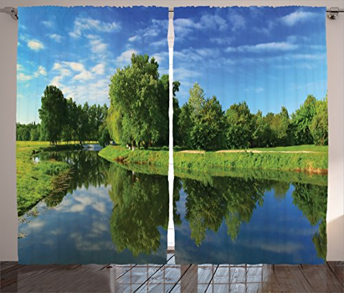 Ambesonne Lake House Decor Collection, Decorative Scenic Natural Landscape with Lake Trees Grass and Reflection in the Water, Living Room Bedroom Curtain 2 Panels Set, 108 X 84 Inches, Green Blue