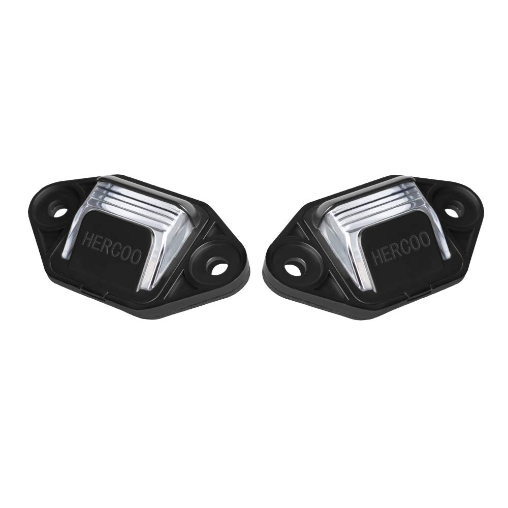 HERCOO License Plate Lights Lamp Lens Black Clips Housing Compatible with 1999-2014 Ford E-150 E-250 E-350 E-450 E-550 Super Duty Econoline Pickup Truck Rear Step Bumper Aftermarket Pack of 2