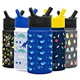 Simple Modern 14oz Summit Kids Water Bottles with Straw Lid Sippy Cup - Dishwasher Safe Vacuum Insulated Tumbler Double Wall Travel Mug 18/8 Stainless Steel Flask - Shark Bite