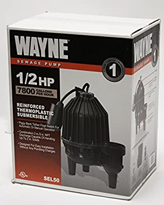 WAYNE SEL50 1/2 HP Thermoplastic Sewage Pump With Piggyback Tether Float Switch