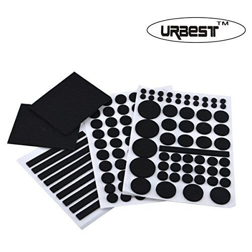 URBEST Black 132 Pcs 4mm Thick Assorted Sizes Heavy Duty Furniture Protector Felts Pads with Durable Self-Stick Adhesive for Chairs,Desks (Black)