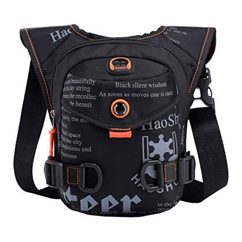 (Multi-Pocket Nylon Waist Bag Fanny Pack Thigh Pouch Leg Bag Travel Purse Crossbody Shoulder Messenger Bag for Men Women for Sport Bike Racing Cycling Tactical Travel Hiking Drop Leg Bag (Black))