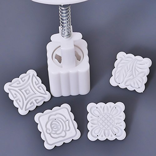 Lucrative shop 5 pcs/set Mid-Autumn Festival Square Moon Cake Mold Food-Grade Plastic 4 Pattern