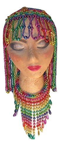Rainbow Colored Egyptian Belly Dancer Cleopatra Headpiece with Matching Neck (Costumes Anchorage)