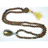 Meditation Yoga Jewelry Rudraksha Prayer Mala Harmonious Balanced Rosary Beads 108+1 Yantra Pendant