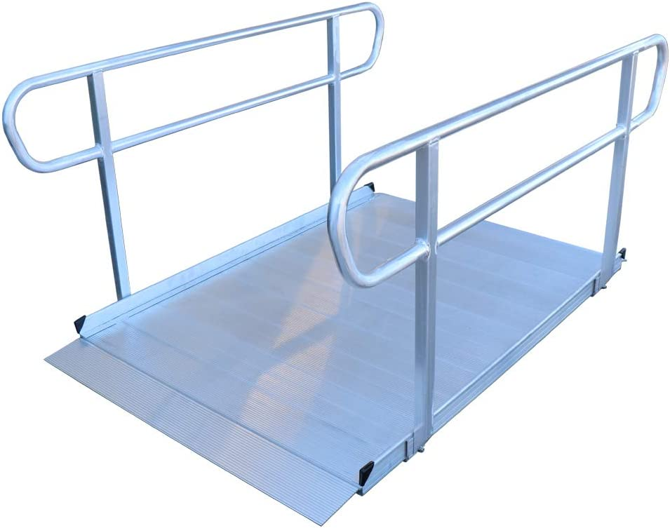 Titan 6 Foot Aluminum Wheelchair Entry Ramp with Handrails Complies with CA Building Code