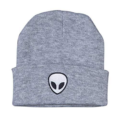 LOKIDVE Men Women Winter Embroideried Cuff Beanie Hat Knit Skull Cap-Alien Gray