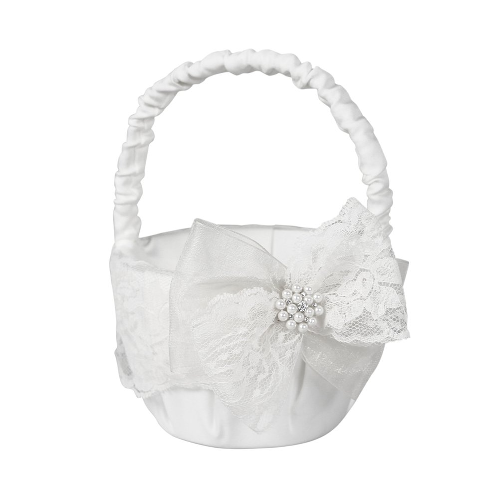 Delilah Flower Girl Basket for Weddings, White