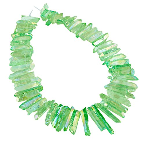 rockcloud Natural Rock Crystal Points Titanium Coated Clear Quartz Sticks Spikes Top Drilled 15 inch Strand,Light Green]()