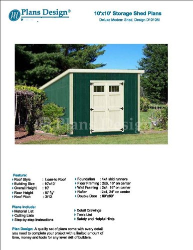 10' x 10' Deluxe Shed Plans, Modern Roof Style Design #D1010M, Material List and Step By Step Included by Plans Design