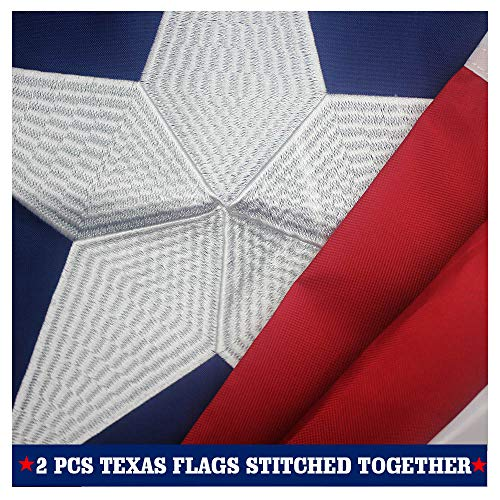 VSVO Texas State Flag 3x5 Ft with 2-Sided Embroidered for Outside- Double Sewn Stripes and Brass Grommets, UV Protected, 3 by 5 USA Texas Flag