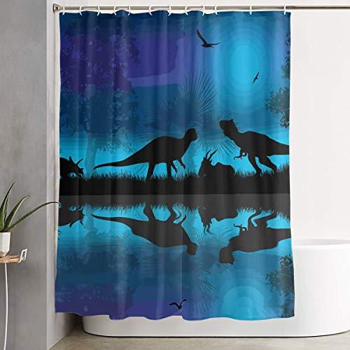 MAHENSHANGM Dinosaurs River Moon Night Dinosaur Shower Curtain Durable Shower Curtains Decor Set 60 X 72 inch]()