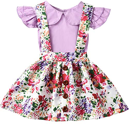 ASTRILL Baby Girls' Ruffled Sleeve Top and Floral Suspender Skirt Sets Purple (Sleeve Ruffled Top)