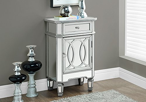 Monarch Specialties I 3707 Brushed Mirror Accent Table, 29
