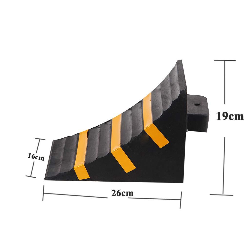 18.5cm OrangePlas Rubber Wheel Chock Heavy-Duty Ramps,Dimensions 25.4 16 Pack of 2
