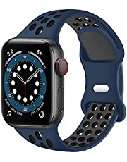 SVISVIPA Sport Bands Compatible for Apple Watch Bands 44mm 42mm 40mm 38mm,Breathable Soft Silicone Sport Women Men Replacement Strap Compatible with iWatch Series SE/6/5/4/3/2/1