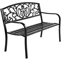 MODAA Vintage Style Cast Iron Garden Bench Seat, Weatherproof Outdoor Steel Chair Patio Furniture Lounge Porch Lounger…