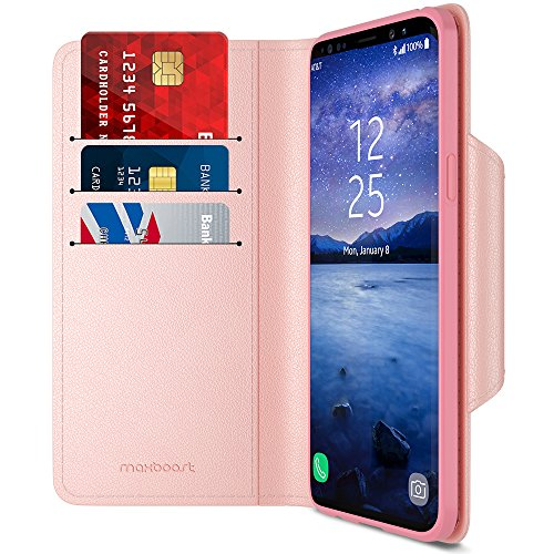 Maxboost Galaxy S9 Wallet Case mWallet Series [Folio Cover][Stand Feature] Premium Samsung Galaxy S9 Credit Card Flip Case [Rose Gold] Protective PU Leather w/Card Slot + Side Pocket Magnetic Closure