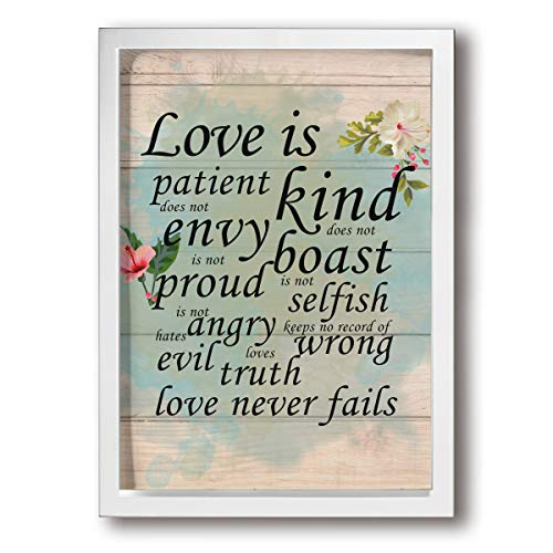 SRuhqu Canvas Wall Art Prints Love is Patient Love is Kind Love Never Fails -Picture Paintings Contemporary Decorative Giclee Artwork Wall Decor-Wood Frame Ready to Hang -