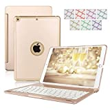 Keyboard Case for iPad 9.7,Dingrich Smart iPad Case with Keyboard for 2018 (6th Gen), iPad 2017 (5th Gen), iPad Air 1,360 Rotatable & 7 Color Backlit (Gold)