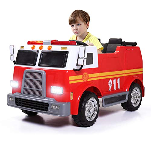 BestHomeFuniture 12V Ride On Car Kids Fire Truck Emergency Engine Toy Electric Battery Powered Music