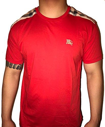 BURBERRY+Brit+Men%27s+short+sleeve+check+shoulder+T-shirt+%28Large%2C+Red%29