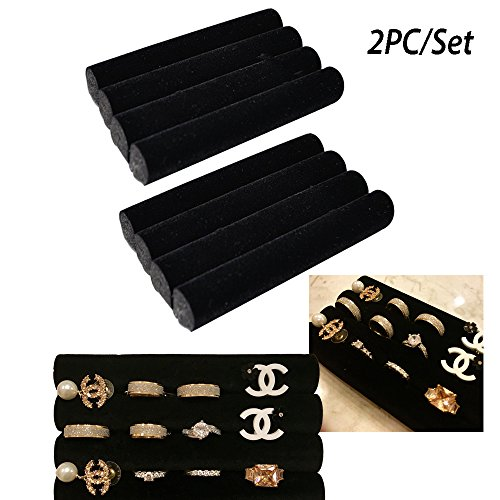 Velvet 2 Showcase Ring Displays (Adorox 2 sets of Finger Black Velvet Ring Trays Accessory Foam Pads Showcase Counter Top Display Jewelry Holder 5.5'')