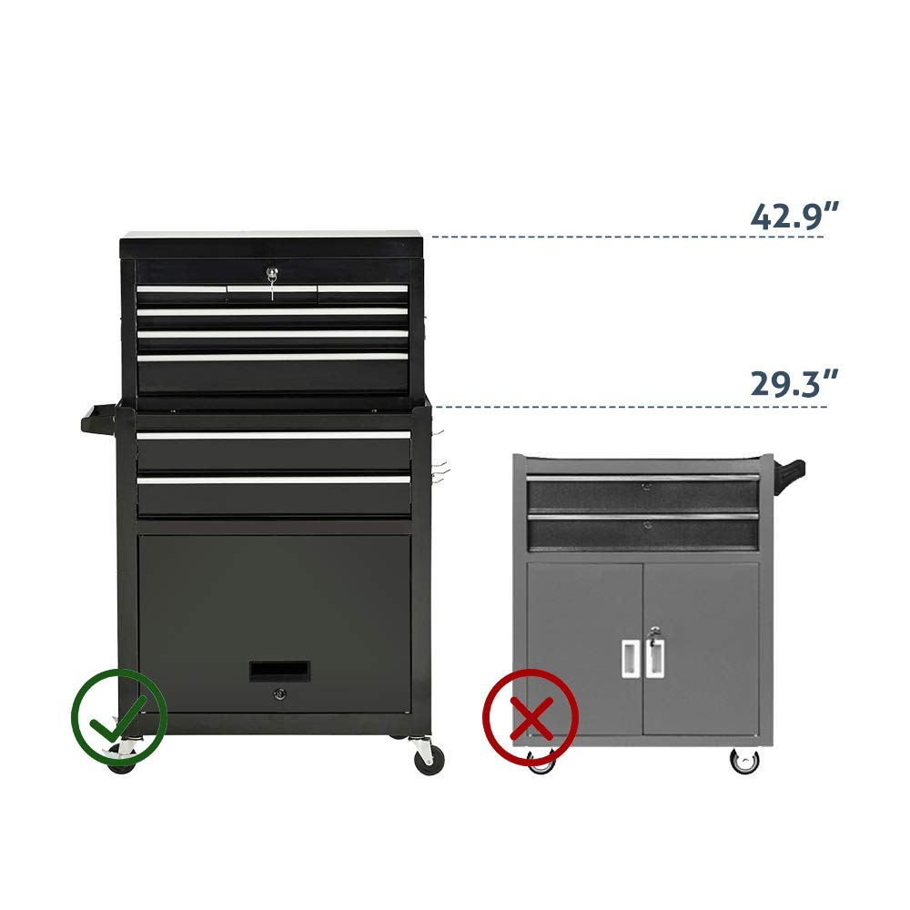 Tool Box 8-Drawer Rolling 2 in 1 Tool Cabinet With Drawer Removable Tool Box,Keyed Locking System Toolbox Organizer Boxes,Black by Long World (Image #5)