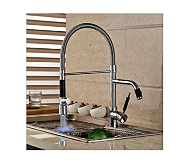 HYY@ Luxury LED Light Pull Down Kitchen Sink Faucet Deck Mount Dual Swivel Spout Kitchen Mixer Tap Chrome Finish