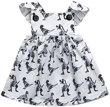 f843b5de4a Kehen Newborn Infant Baby Girl Strap Backless Cartoon Dress Summer Dinosaur  Print Palywear Dresses