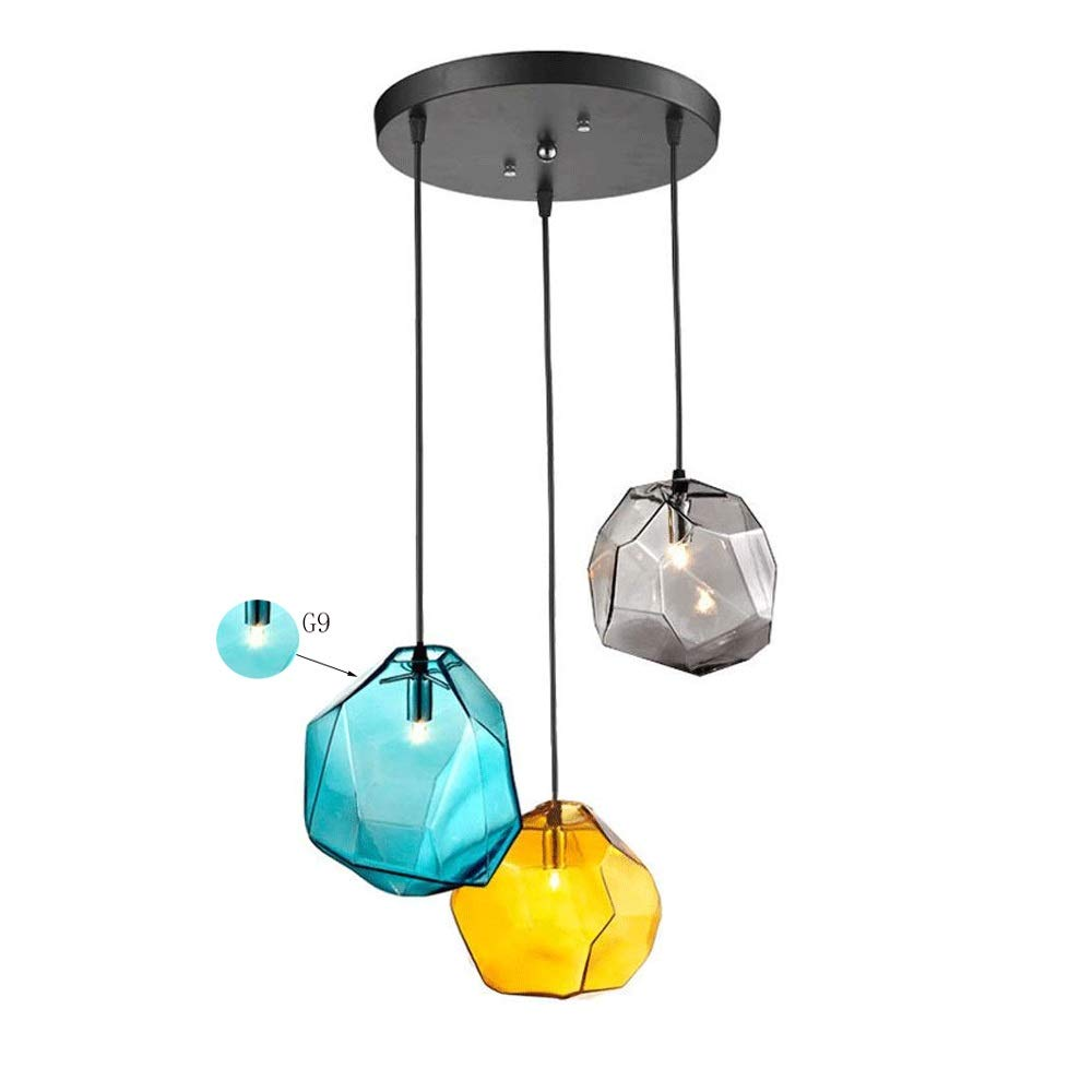 3-Light Ceiling Lighting, Colored Small Pendant Light Fixture, Polygons Hand Blown Stone Glass Chandeliers for Living Room Dining Room Bedroom Restaurants 9 Inch G9