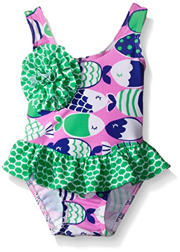 Flap Happy Baby UPF 50+ Rio Infant Swimsuit with Snap-Crotch, Fish Bliss, 6 Months