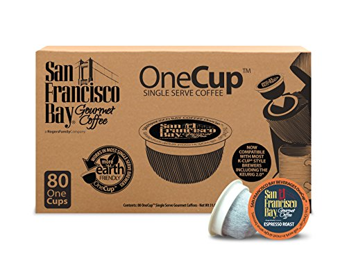 San Francisco Bay OneCup, Espresso Roast, Single Serve Coffee K-Cup Pods (80 Count) Keurig Compatible ()