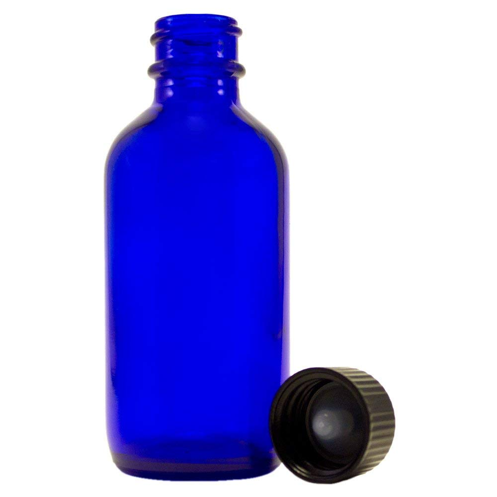 4 oz Cobalt Blue Empty Glass Bottle – w Screw Caps – pack of 6