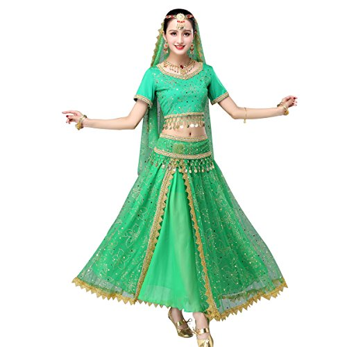 Women's Belly Dance Chiffon Bollywood Costume Indian Dance Outfit Halloween Costumes with Coins 5 Pieces Sets (X-Large, Green) -