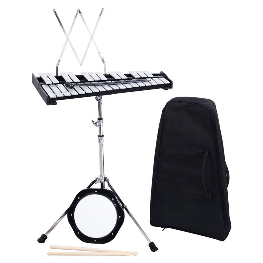 douself 30 Notes Glockenspiel Bell Kit Percussion with Practice Pad, Mallets, Sticks and Stand