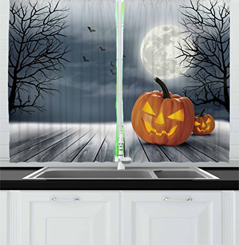 Halloween Kitchen Curtains by Ambesonne, Cold Foggy Night Dramatic Full Moon Pumpkins on Wood Board Trees Print, Window Drapes 2 Panel Set for Kitchen Cafe, 55 W X 39 L Inches, Grey Orange Black