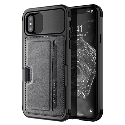 iPhone XS Wallet Case, iPhone X Wallet Case, SmartLegend Premium Leather Shock Absorption [Magnetic Car Mount Compatible] Protective Case with Card Slot Holder for iPhone XS/iPhone X 5.8 Inch (Black)