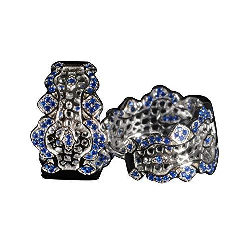 Tingle Sterling Silver Hoop Earrings Fine Jewelry For Women Italian Lace Craft Royal Blue Wide Hoop Earring For Women (Royal-Blue Lace Hoop Small)
