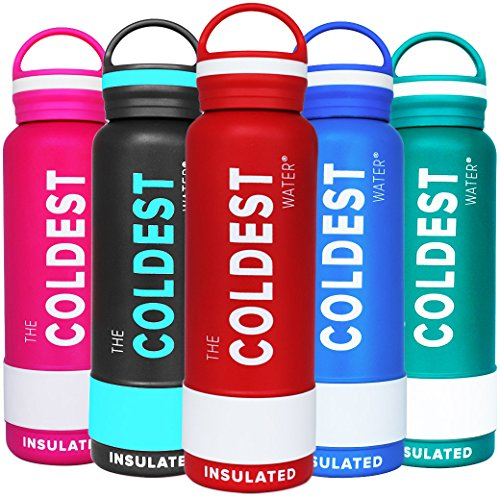 The Coldest Water Sports Bottle Insulated Stainless Steel Hydro Thermos, Vibrant Red, 21 Ounce