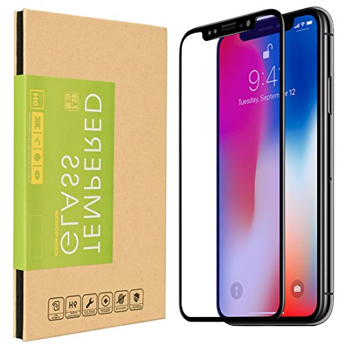 iPhone X Screen Protector, 2-Pack 3D Full Cover 9H Hardness 0.3MM Slim [Bubble Free] [Ultra Clear] [Scratch Proof] [Case Friendly] Premium Tempered Glass for iPhone X 10 [Black Edge]