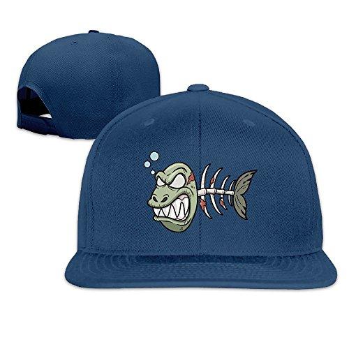 Basee Angry Bloody Fish Bone Adjustable Flat Along Baseball Cap Navy