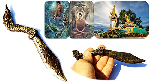 Dragon Snake (Naga knife Meed Mhor) Dagger Buddhist Dagger Thai Amulet Unalome Symbol Good Luck Charm Talisman Size 2.0 x 17.5 cm. With Special (Global Guts Costume)